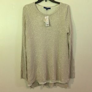 Beautiful lined (sequin) Creamy Sweater NWT Sz XL